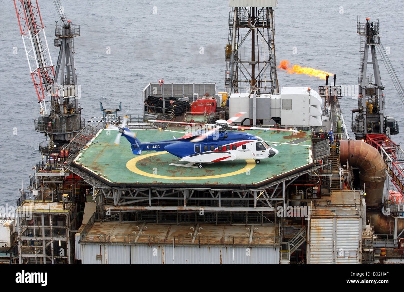 A Bristows S92 Helicopter On The Helideck Of An Oil Rig In The North Stock P