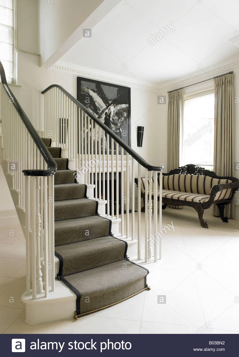 Stylish Staircase Modern Victorian London House Stock