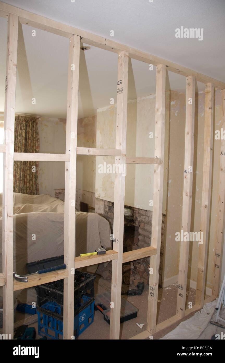 Stud Partition Wall Timber Framework Showing Noggins