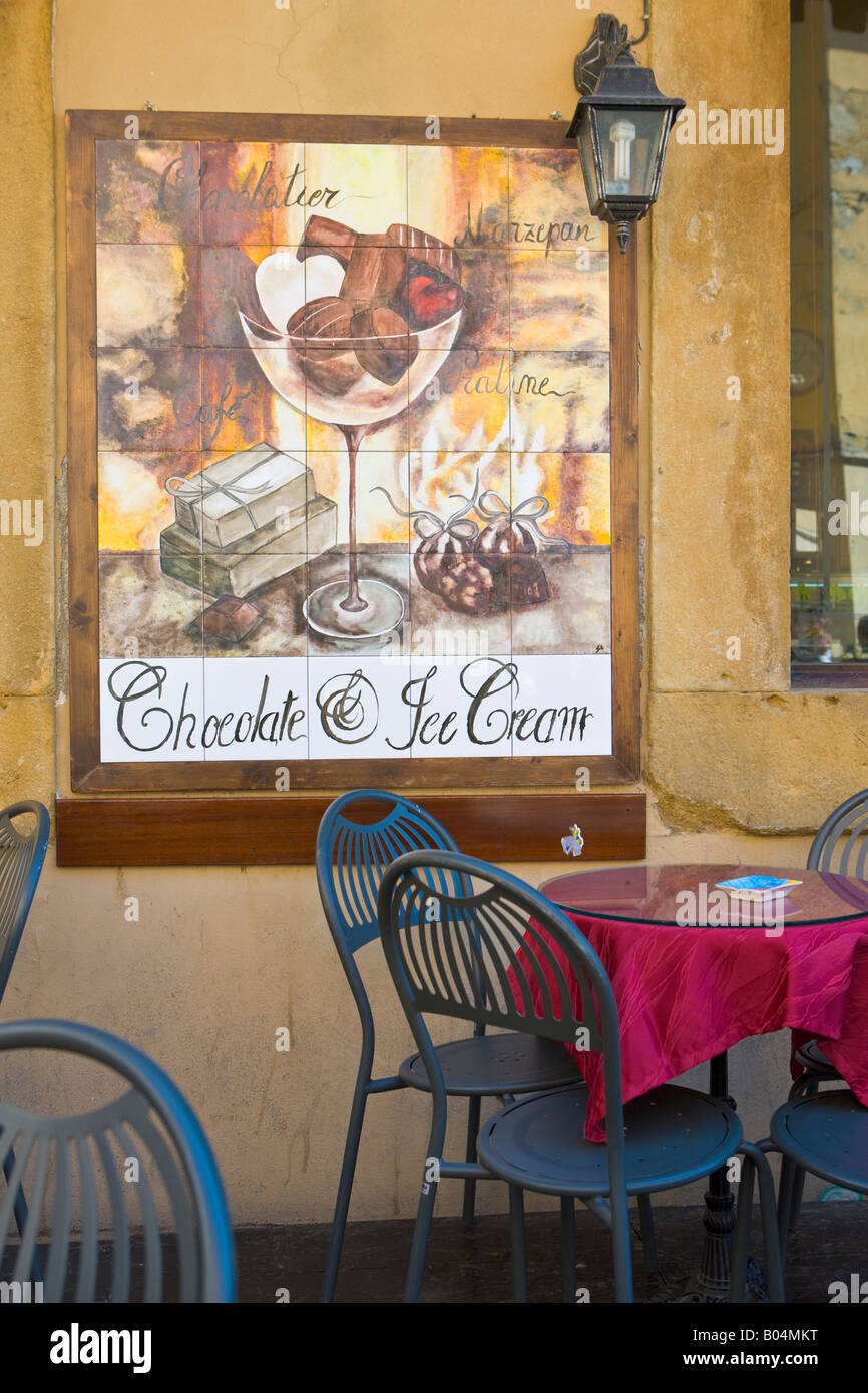 ceramic tile sign at a cafe in the city of volterra, province of