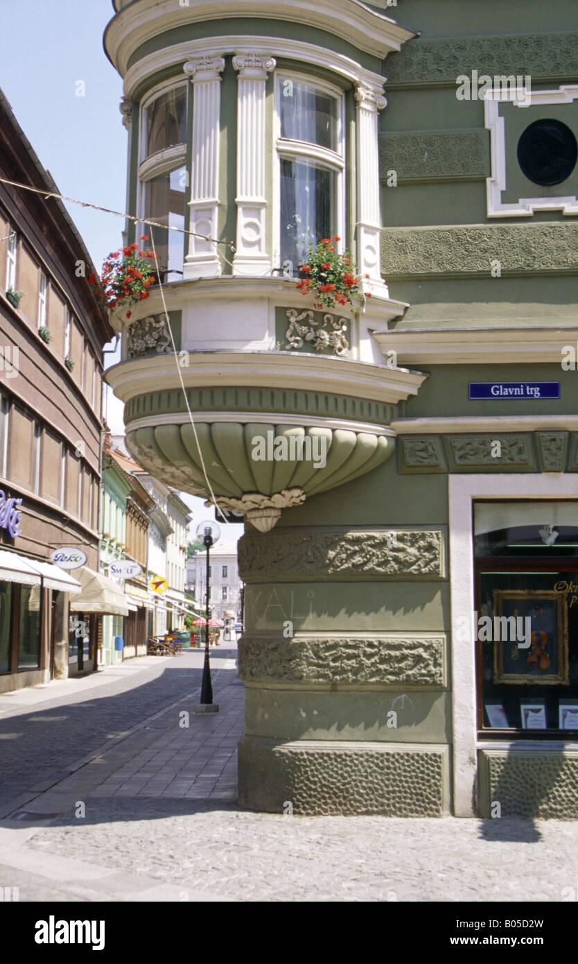 Historic Old Town Glavnj Trg Street Corner House Building Round Corner  Detail Bay Window