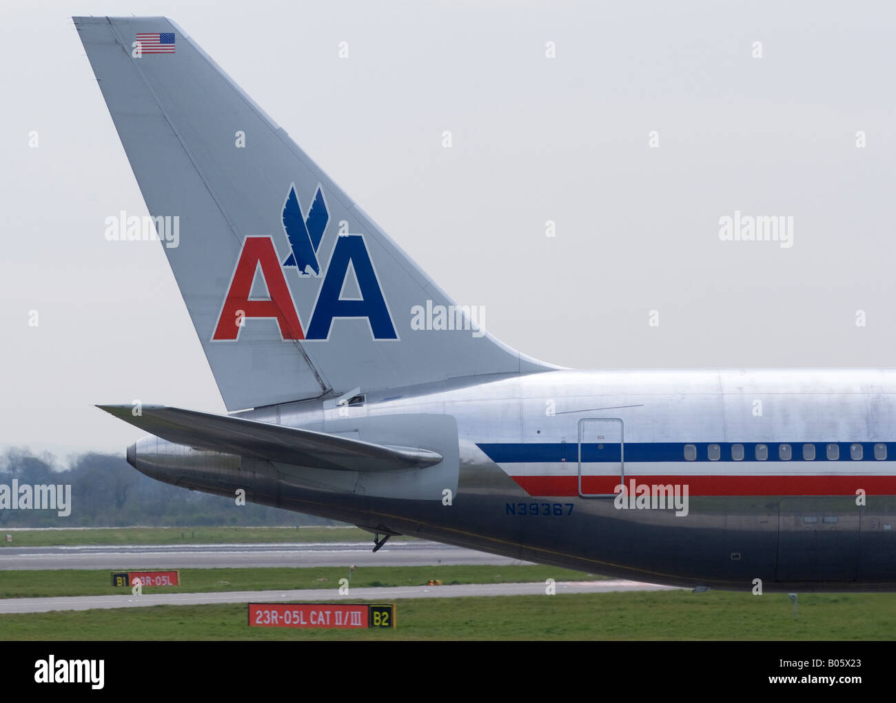 Tail Section Of American Airlines Boeing 767 300 Taxiing