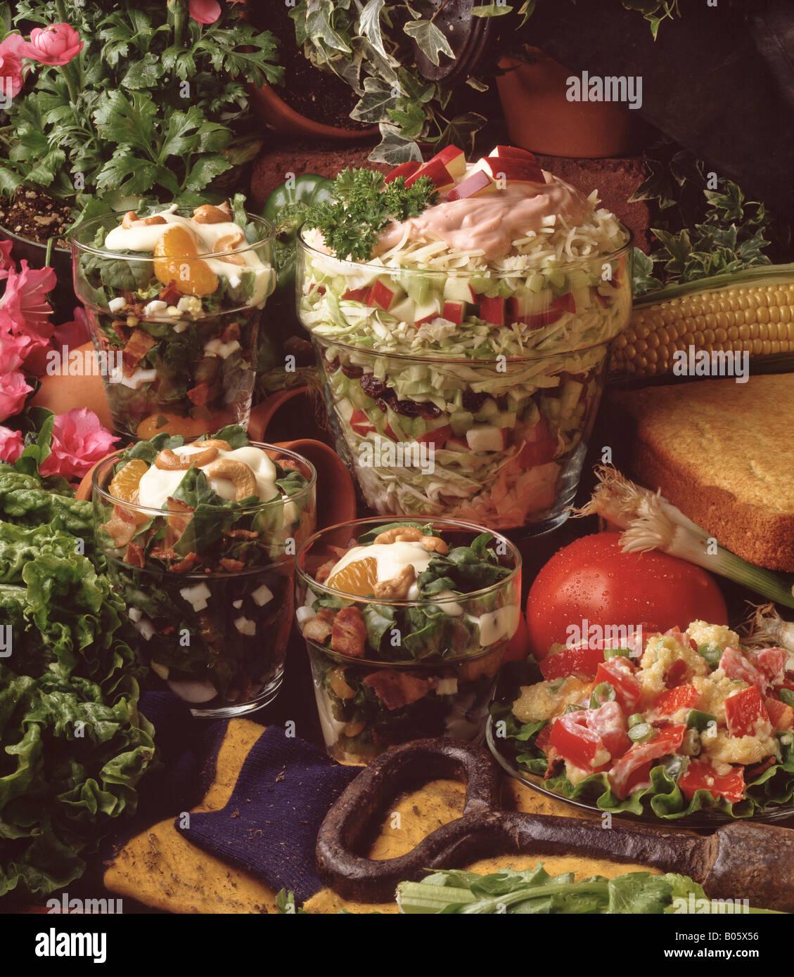 Country Kitchen Recipes Layered Slaw Spinach Salad Cornbread Summer Festive Spread Picnic