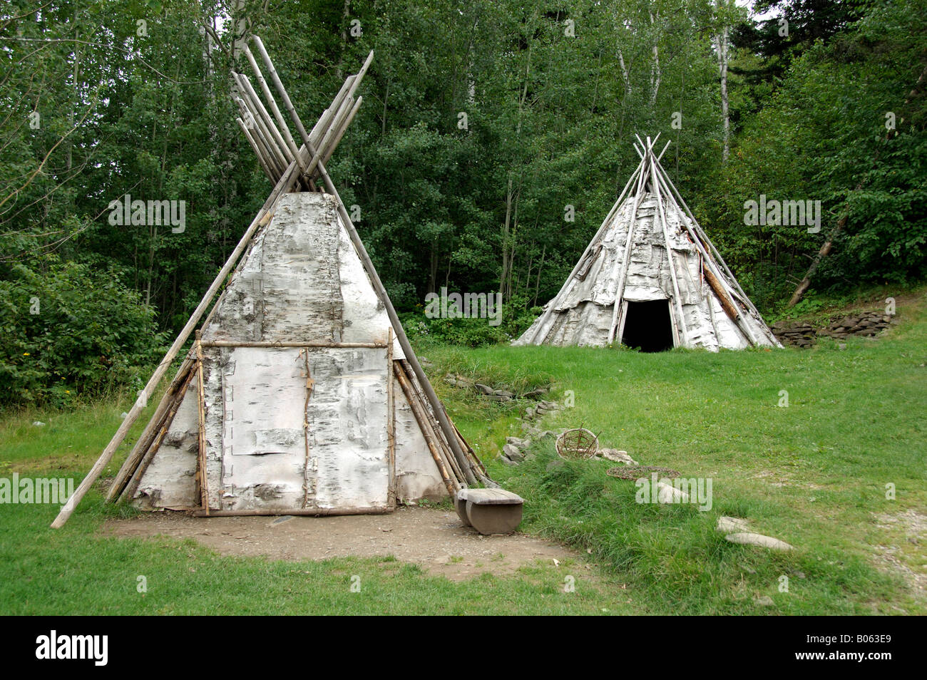 Canada Quebec Gaspe Micmac First Nation Indian Village Birch Bark Stock Photo Royalty Free