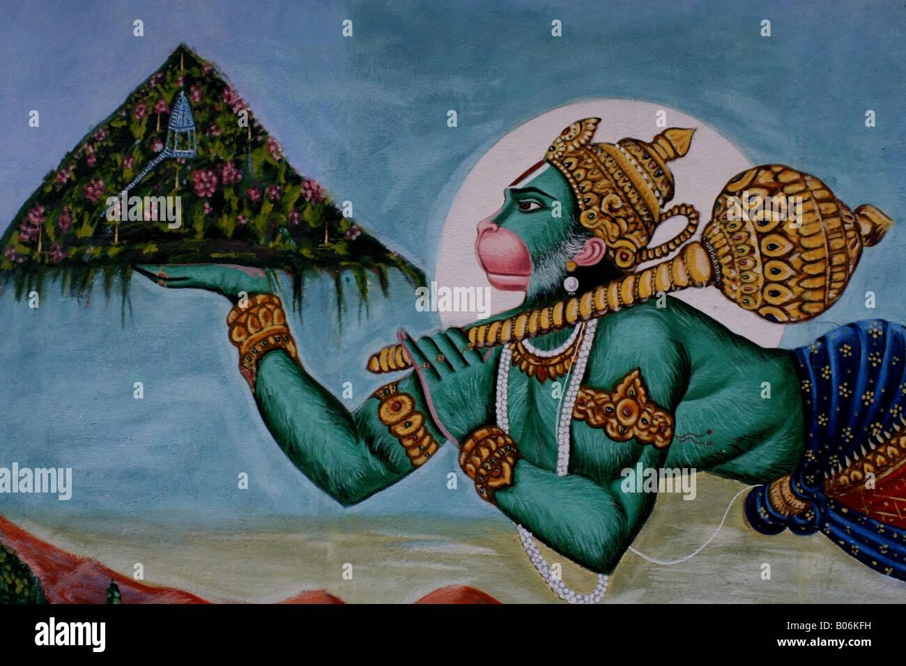 Mural of Hanuman the Hindu Monkey God carrying the ...