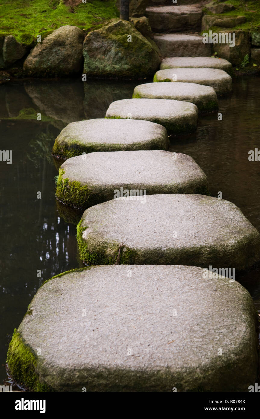 Stepping stones over a pond in a zen garden in kyoto japan for Garden pond stones