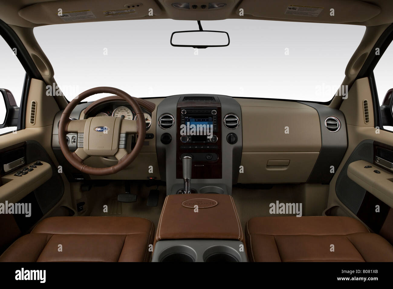 2008 Ford F150 Extended Cab >> 2008 Ford F-150 Lariat King Ranch in Red - Dashboard, center console Stock Photo, Royalty Free ...