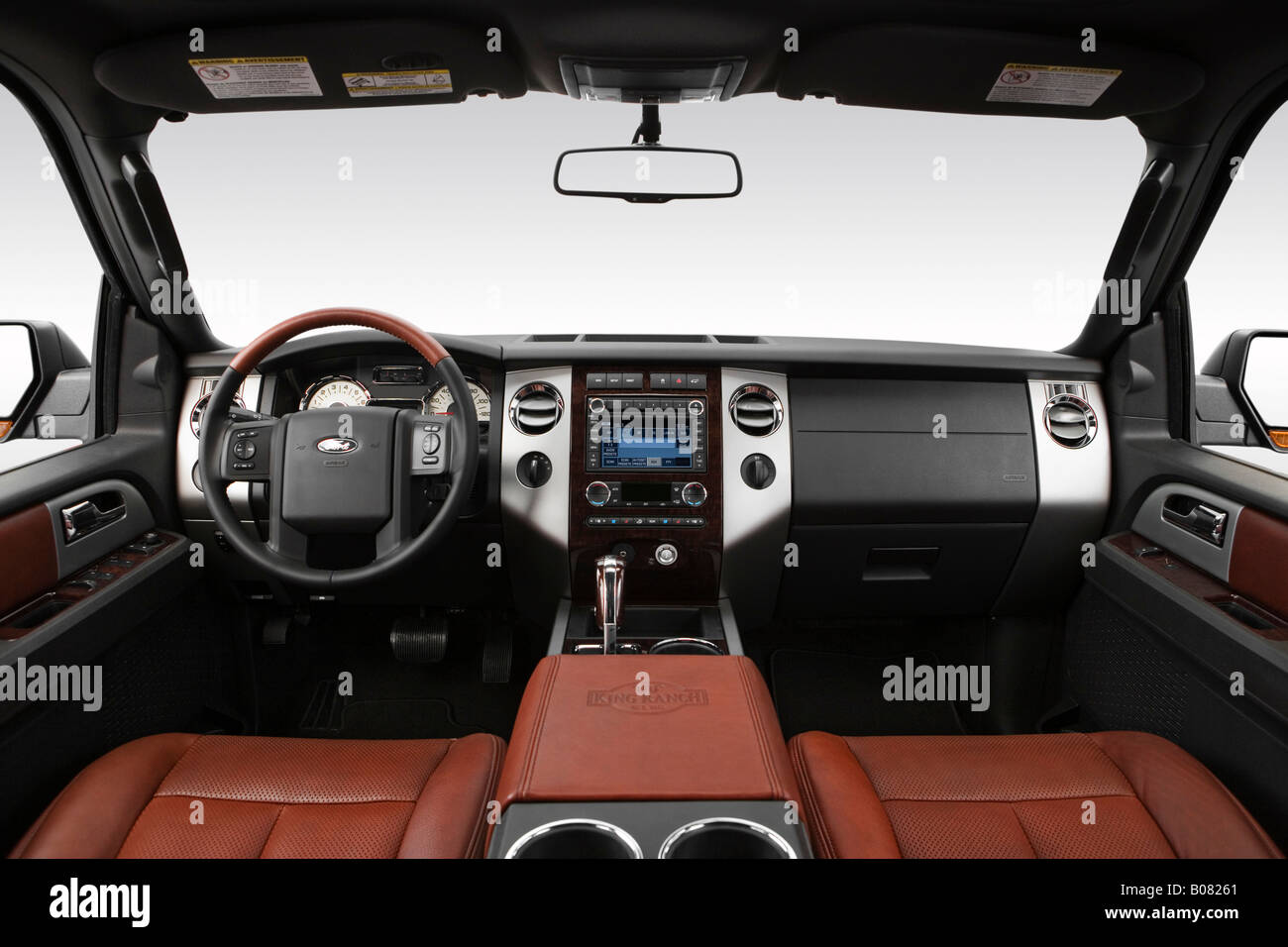 2008 ford expedition el king ranch in black dashboard center console gear shifter view