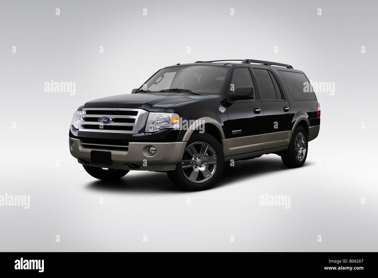 2008 ford expedition el king ranch in black front angle view
