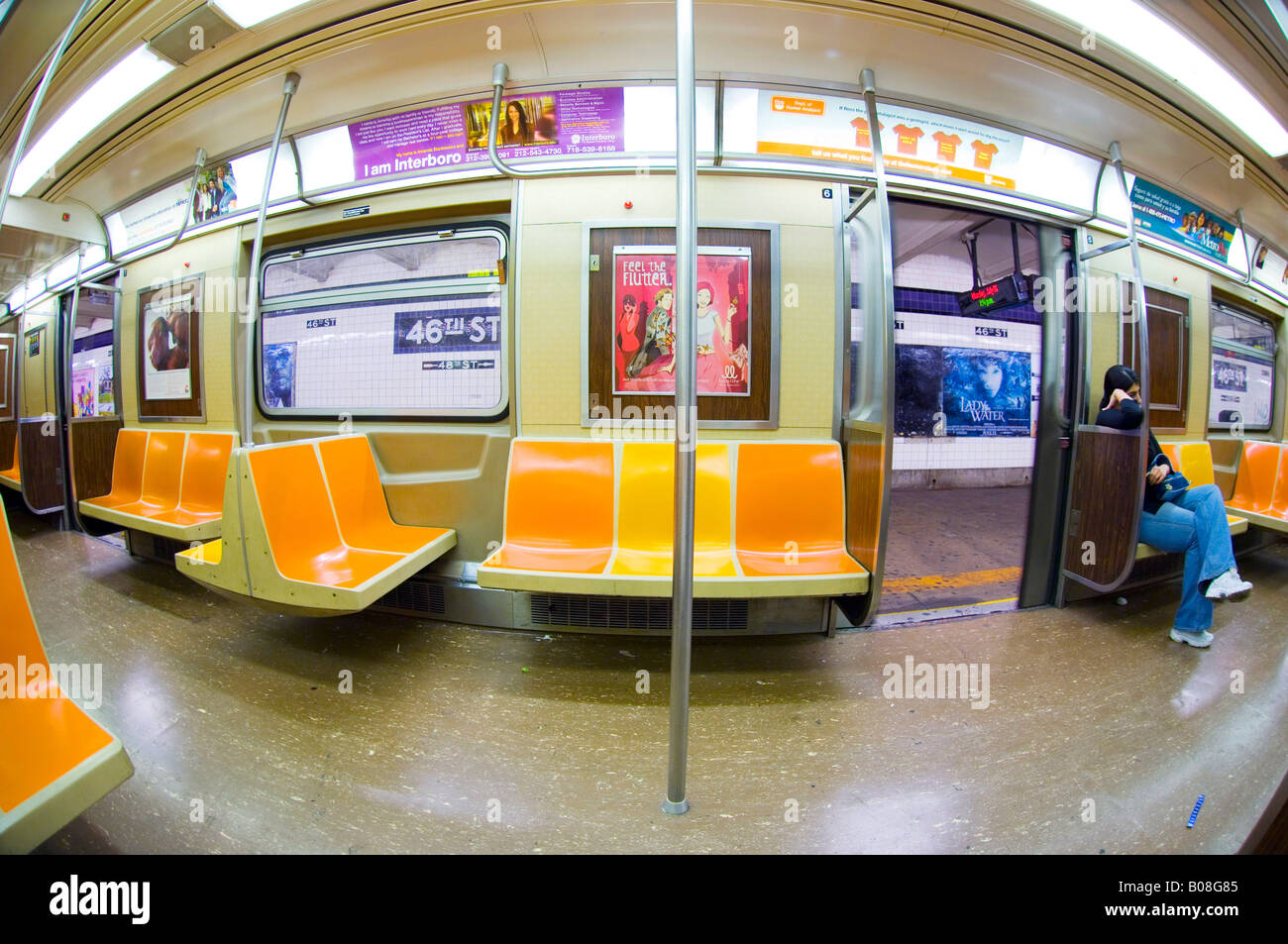 fisheye view of new york subway car interior stock photo royalty free image 17398757 alamy. Black Bedroom Furniture Sets. Home Design Ideas