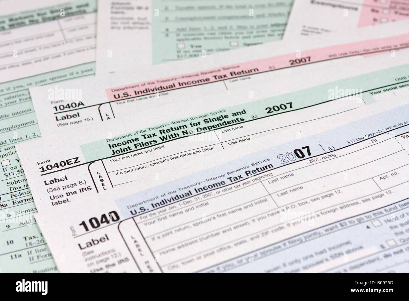 Pre-printed US tax declaration forms, income tax return, USA Stock ...