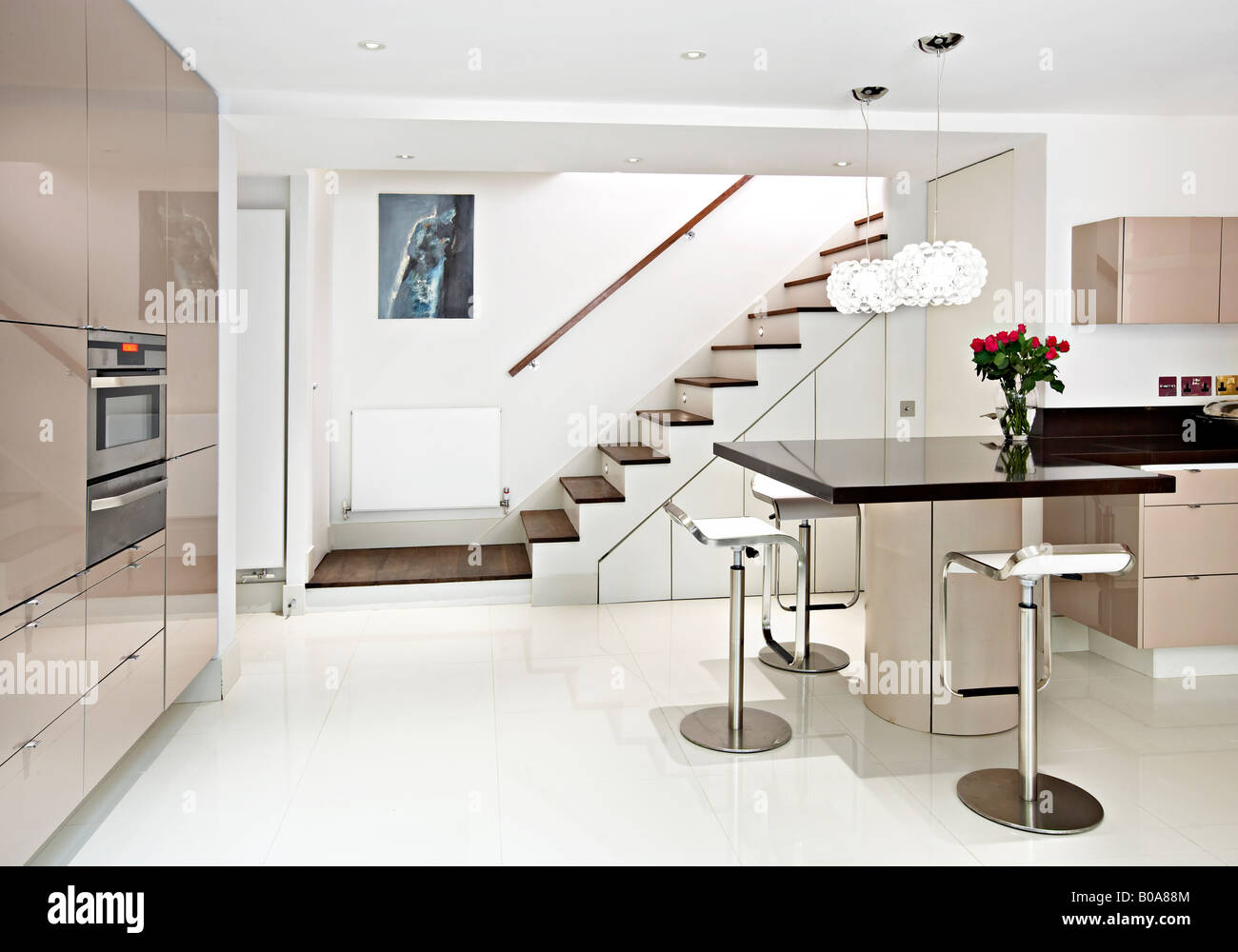 modern kitchen stairs stock photo, royalty free image: 17436404