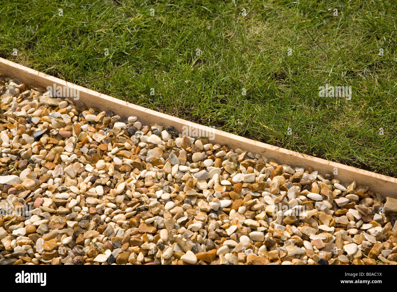 Gravel path with wooden lawn edging stock photo 17439350 for Wooden garden edging