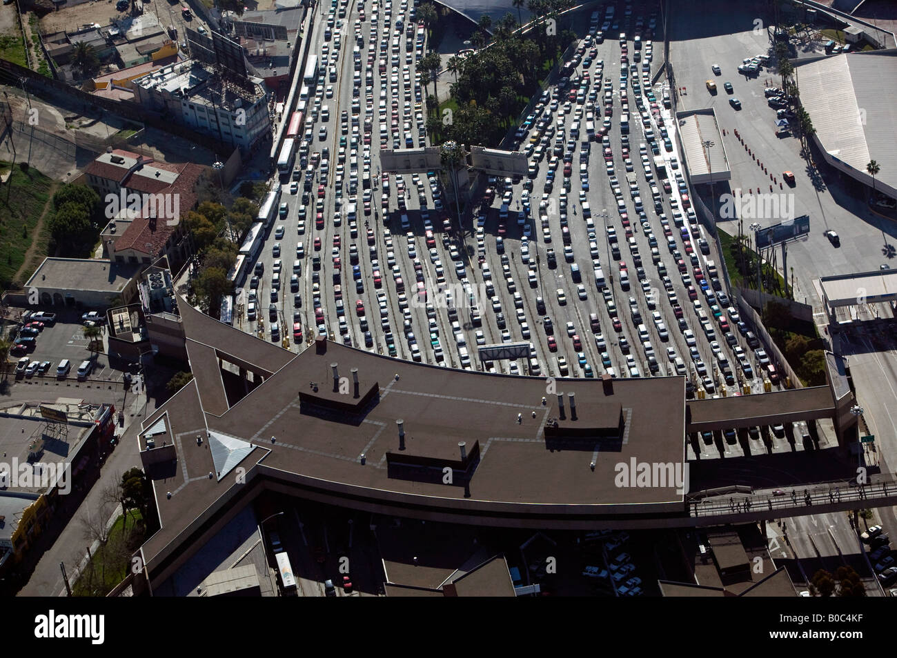 Aerial San Ysidro San Diego Tijuana Border Crossing At The - Aerial maps over mexican us border