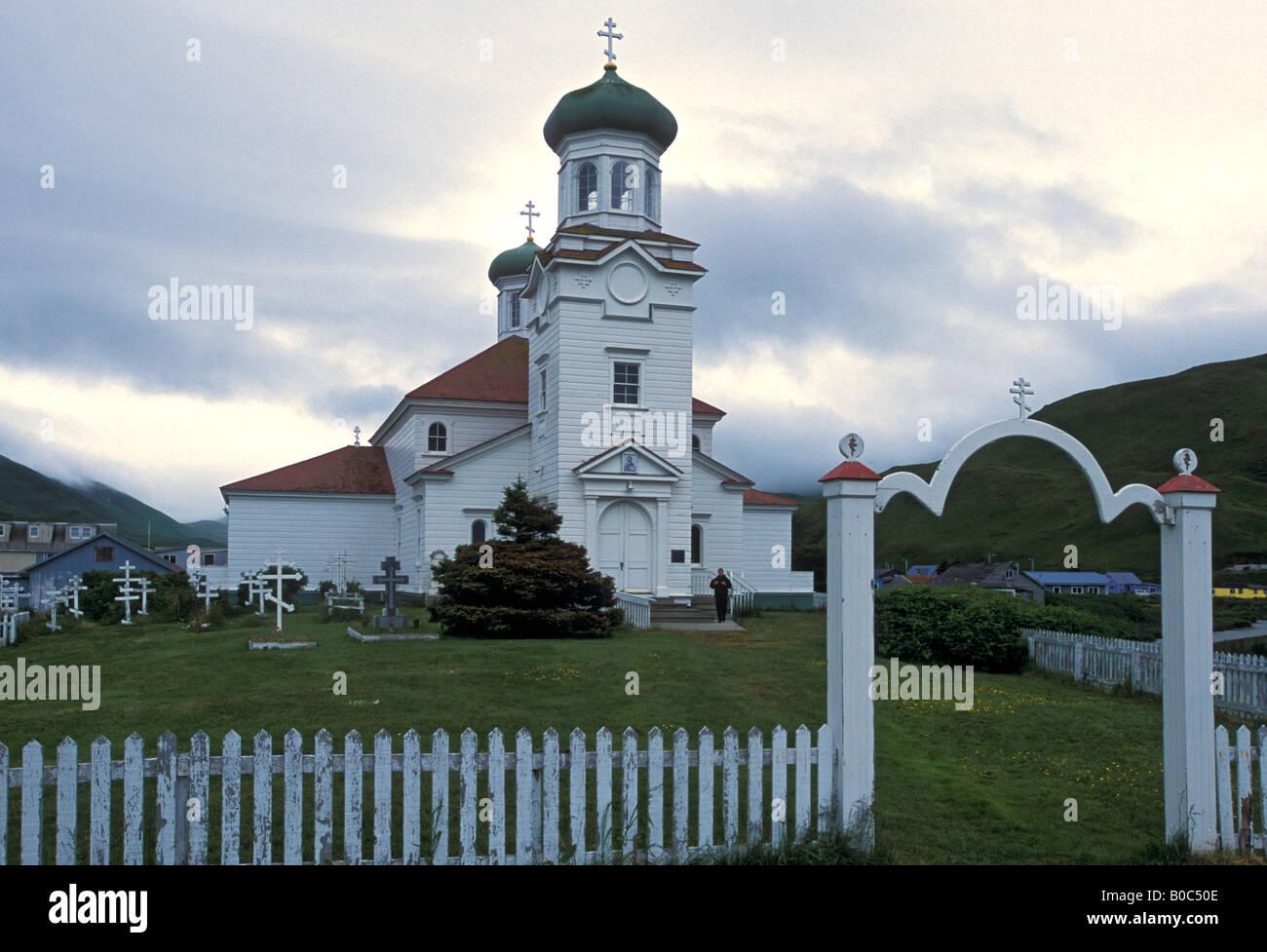 Grand aleutian dutch harbor alaska - Holy Ascension Russian Orthodox Church Dutch Harbor Unalaska Alaska Stock Image