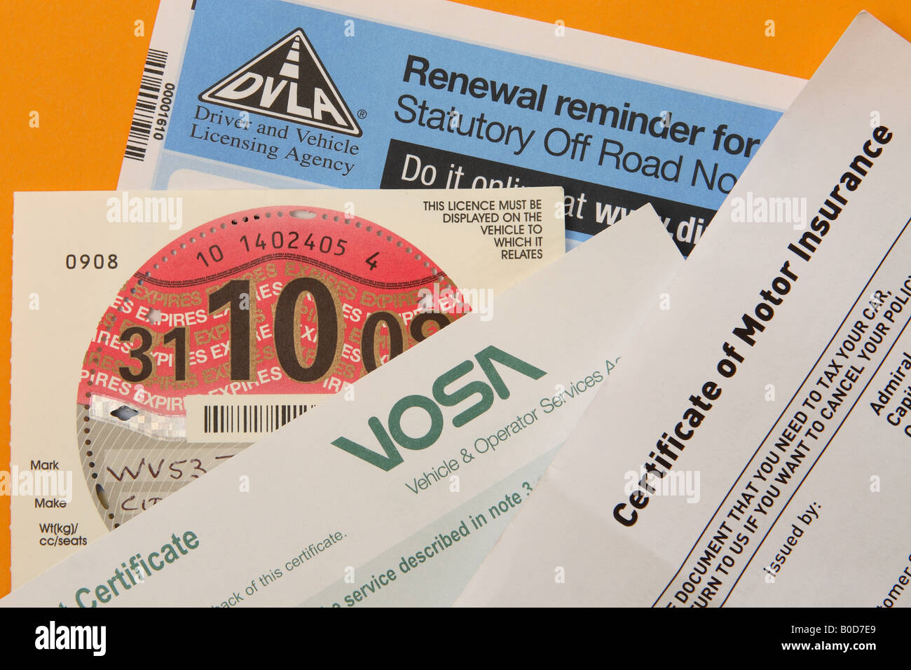 Vosa stock photos vosa stock images alamy uk car motoring vehicle documents including car insurance car mot car road tax and car sorn 1betcityfo Image collections