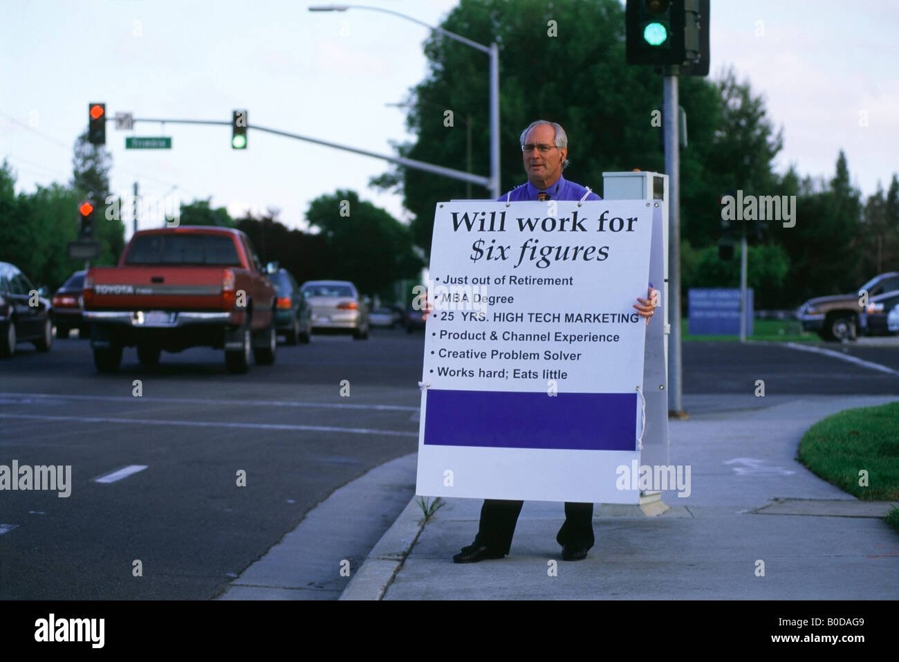 bureau of labor statistics stock photos bureau of labor unemployed former marketing executive stands on a street corner in silicon valley holding a sandwich