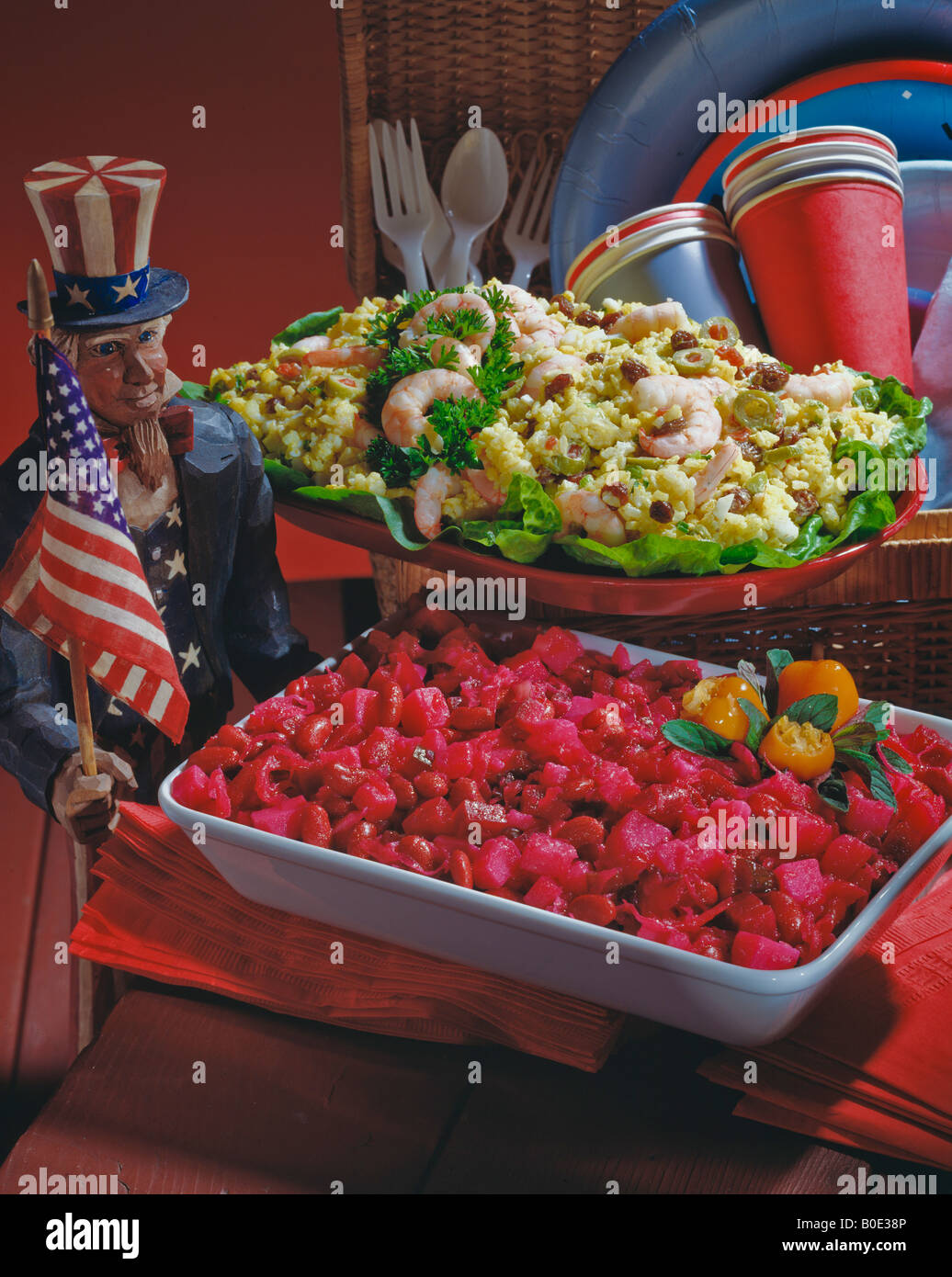 Country Kitchen Recipes Curried Rice Salad Russian Potato Picnic Holiday Celebration Atmosphere Flag Americana