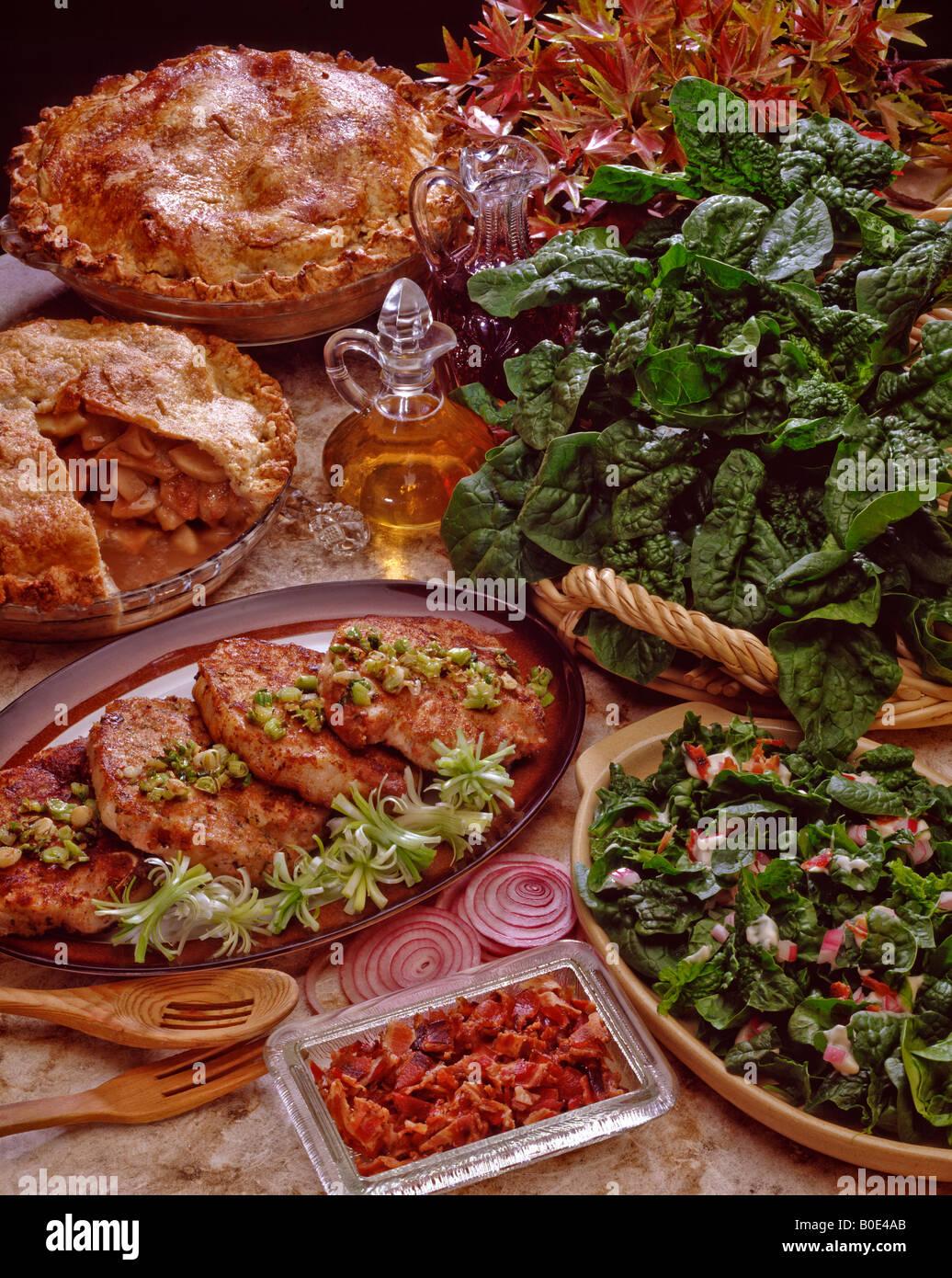 Country Kitchen Recipe Spinach Salad Pork Chops Parmesan Nana S Apple Pie W Cider Pecan Crust Lunch Dessert Lettuce