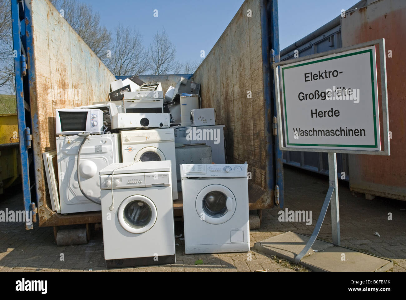 Disused Kitchen Appliances At A Recycling Centre