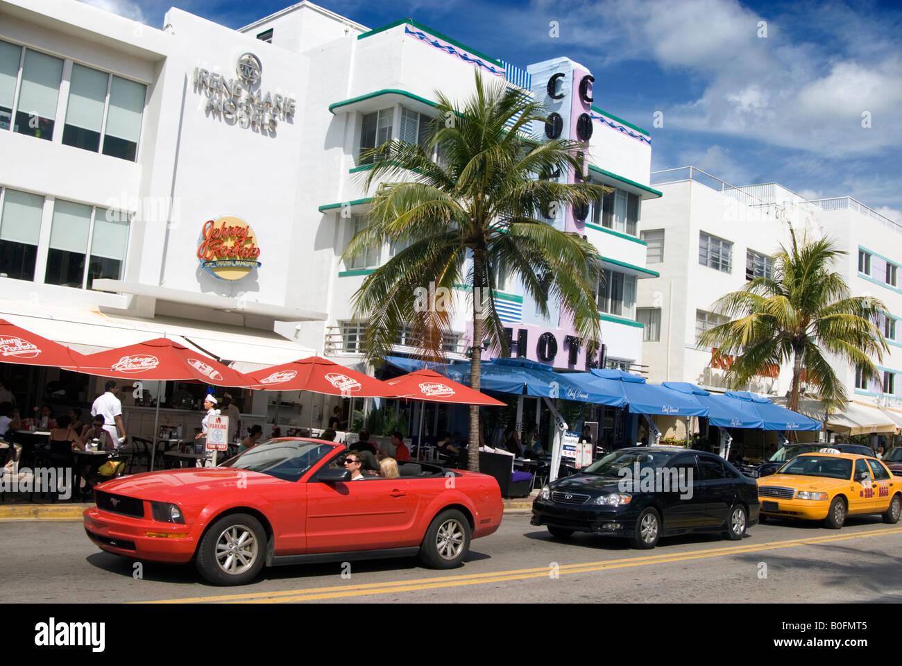 Cars Cruising Ocean Drive Miami Florida Usa Stock Photo