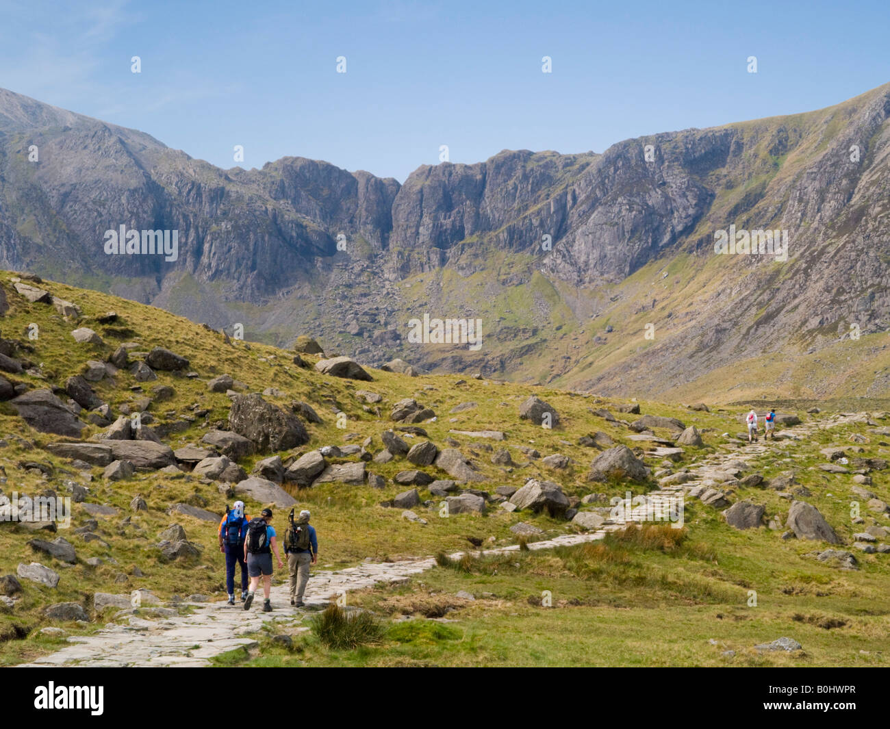 People Walking On Footpath To Cwm Idwal With Devil 39 S