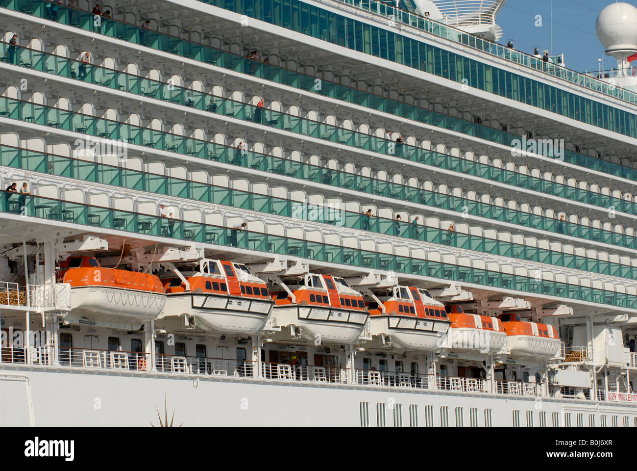 balcony cabins and lifeboats on p o cruise ship ventura
