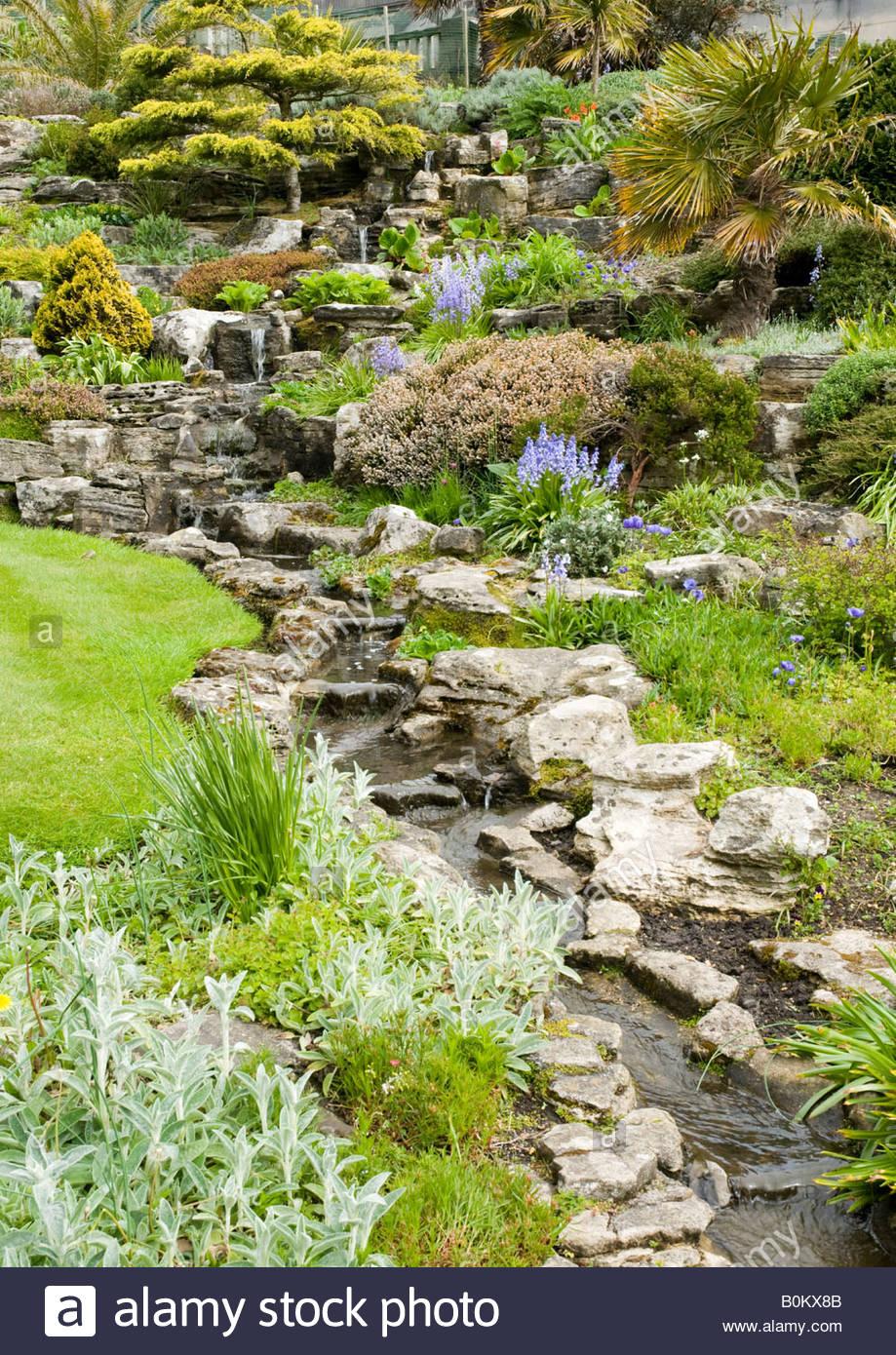 Rock Garden And Waterfall In Bournemouth Gardens Dorset