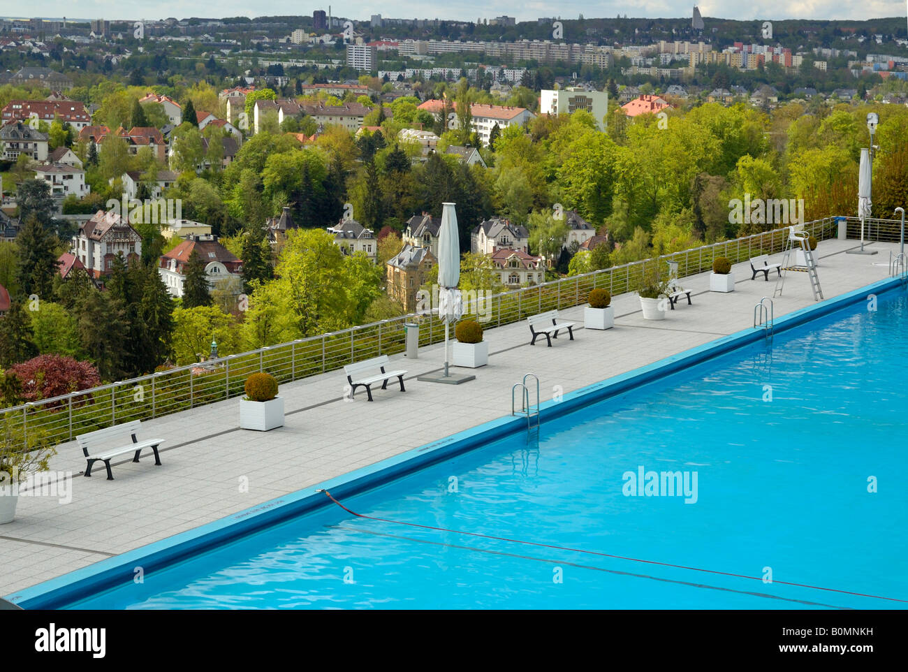 opel bad swimming pool above the villa district of wiesbaden stock photo royalty free image. Black Bedroom Furniture Sets. Home Design Ideas