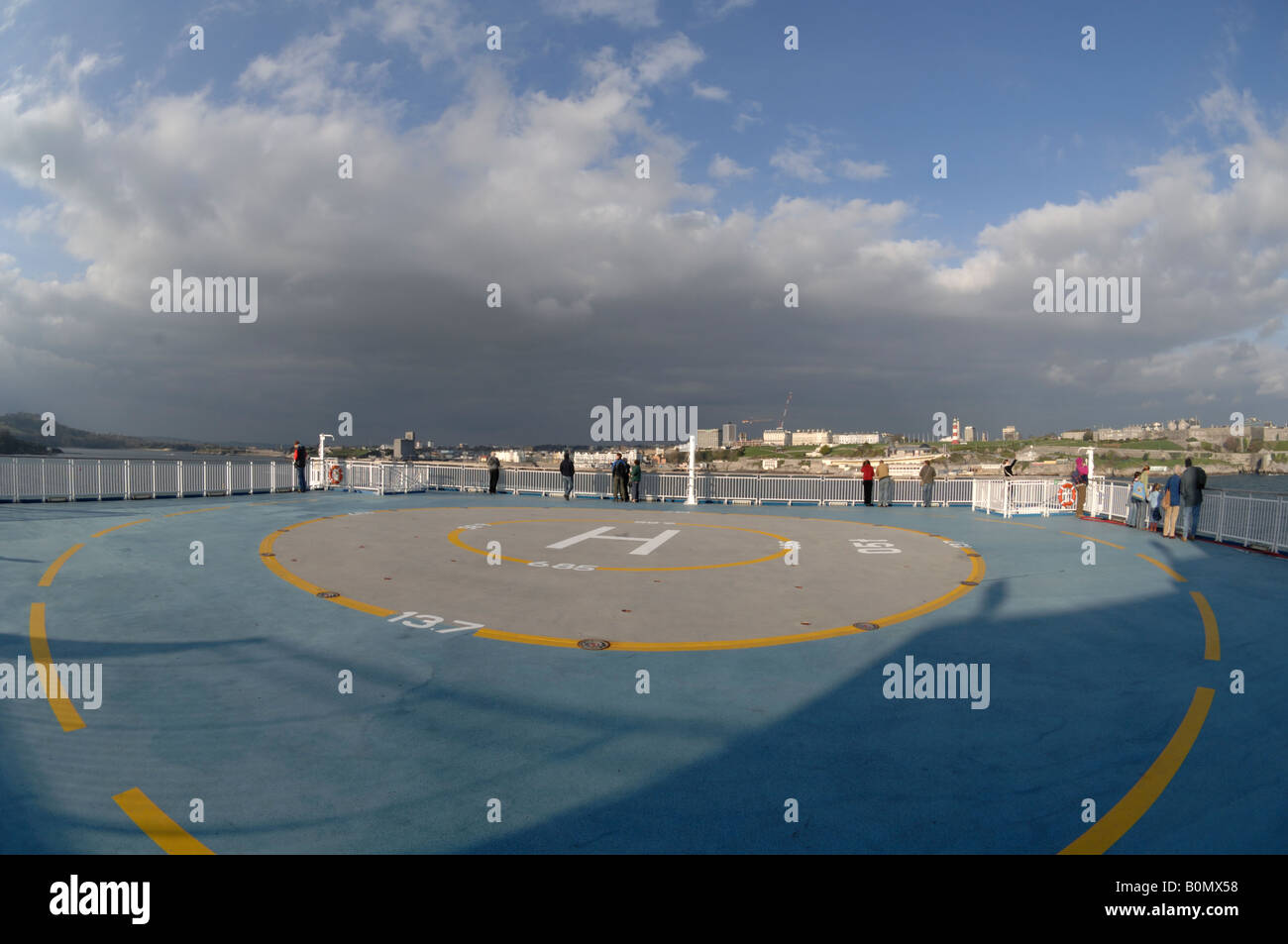 helipad on deck of pont aven ferry brittany ferries plymouth to stock photo royalty free image. Black Bedroom Furniture Sets. Home Design Ideas