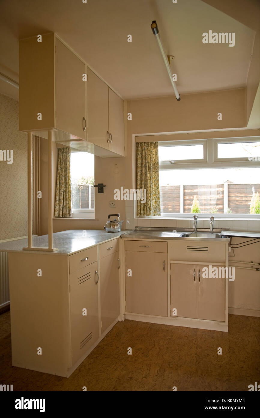 stock photo a domestic 1950s fitted kitchen with formica work top