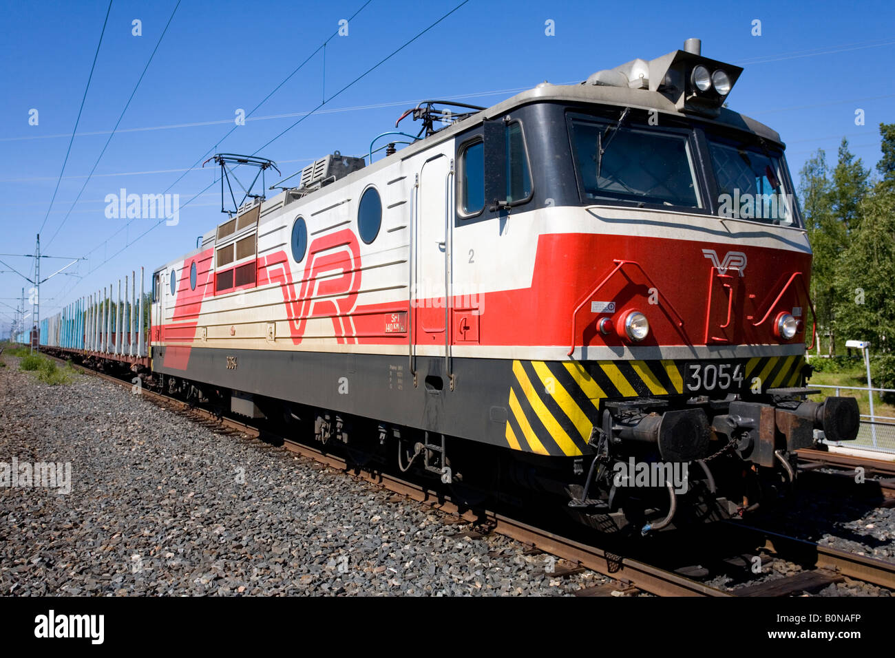 Cargo train with electric locomotive owned by VR , Finland Stock Photo, Royalty Free Image ...