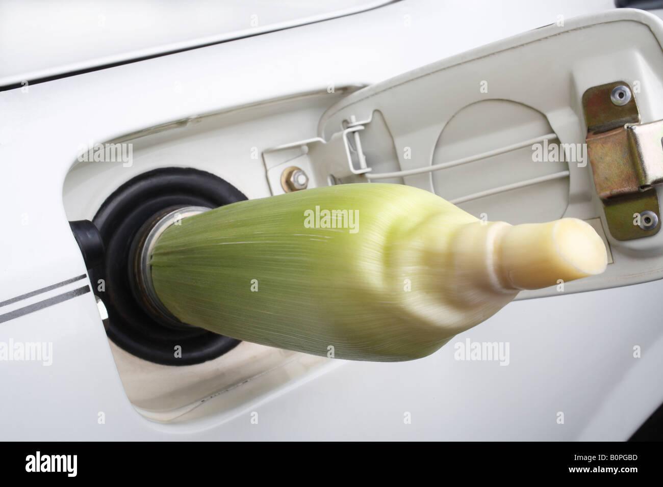 Corn cob in car gas tank filler