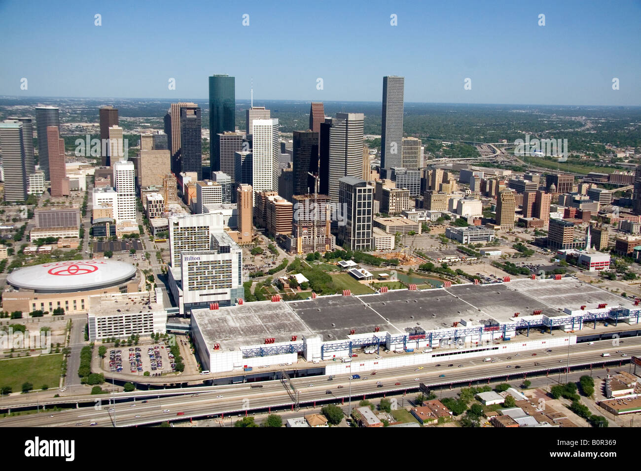 Toyota Houston Tx Aerial View Of Downtown Houston Texas With Convention Center And