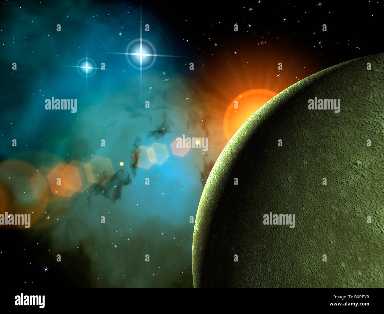 Outer space scene with exoplanet stars and nebulae stock for Outer space scene