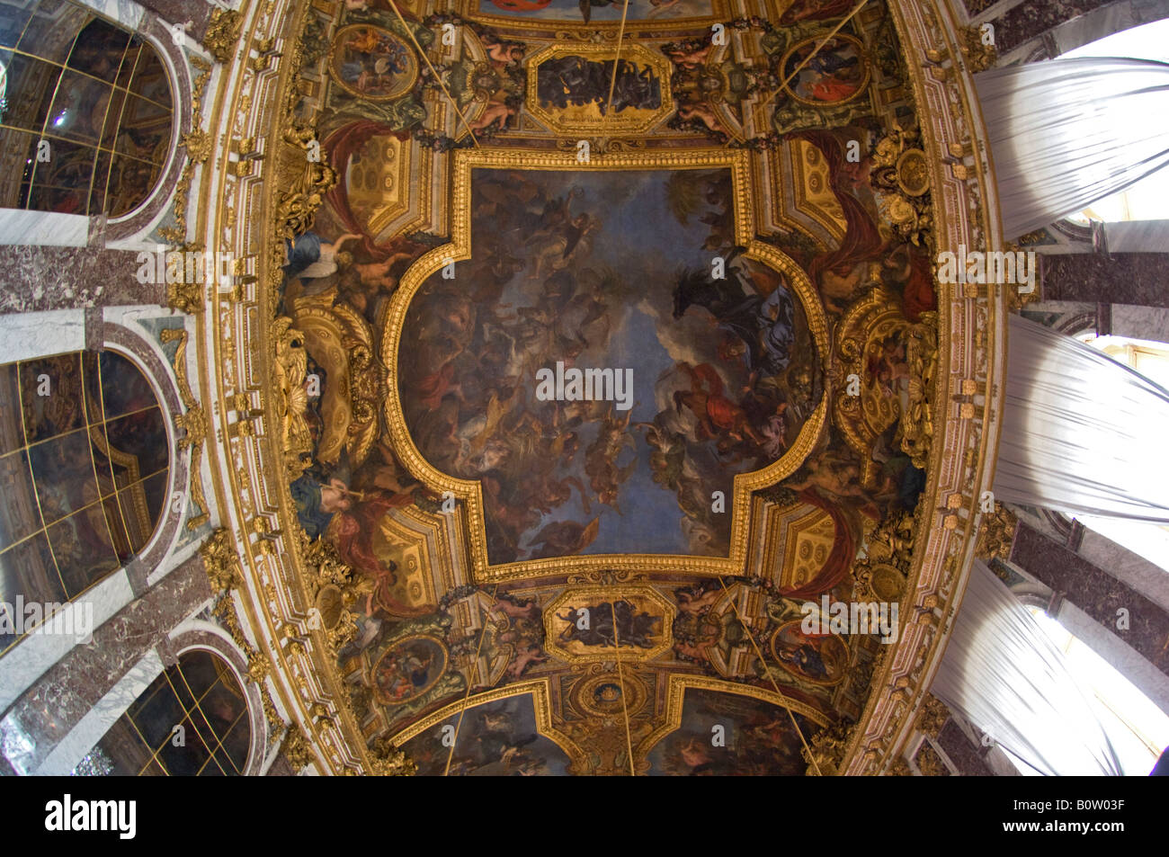 Wide Angle view of the Ceiling in the Hall of Mirrors  Palace of Versailles  or Ch teau de Versailles  France. Wide Angle view of the Ceiling in the Hall of Mirrors  Palace of
