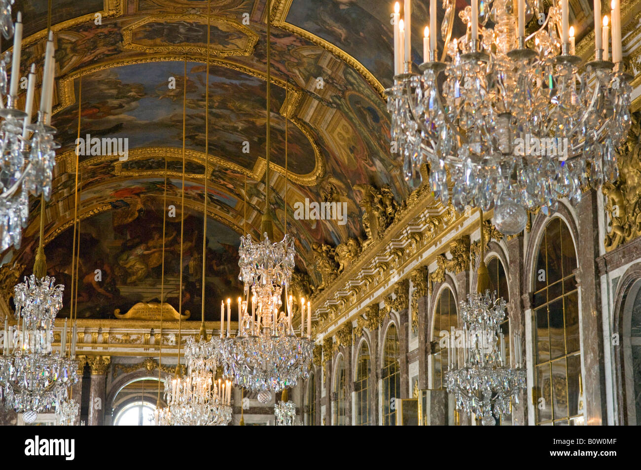 Chandeliers in the hall of mirrors palace of versailles or chandeliers in the hall of mirrors palace of versailles or chteau de versailles france aloadofball Gallery