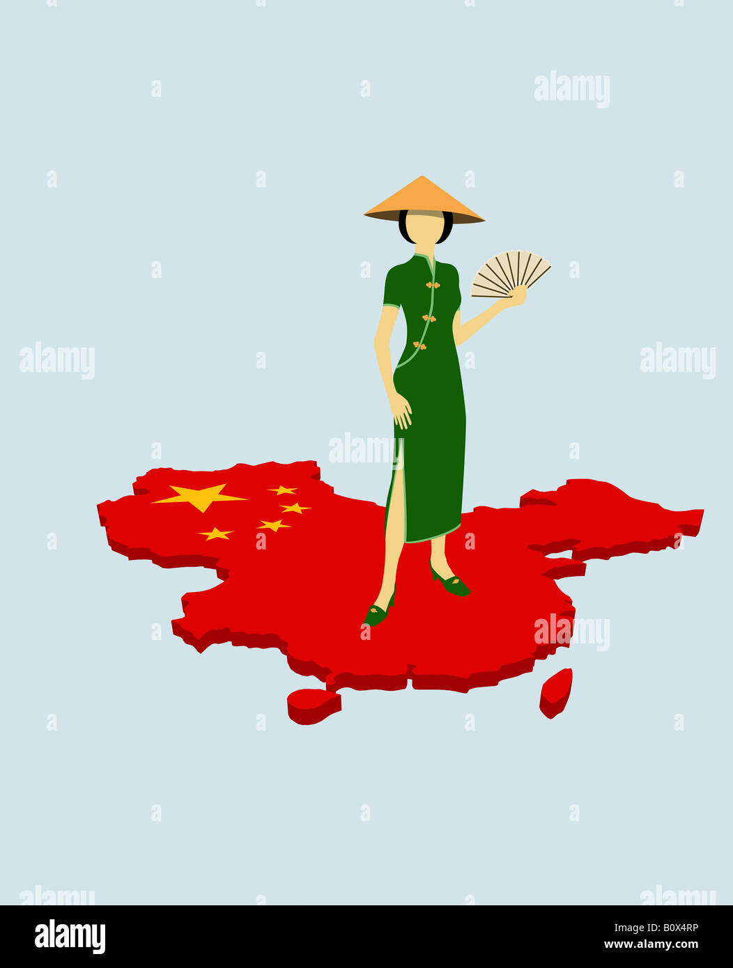 a stereotypical chinese woman standing on the chinese flag in the