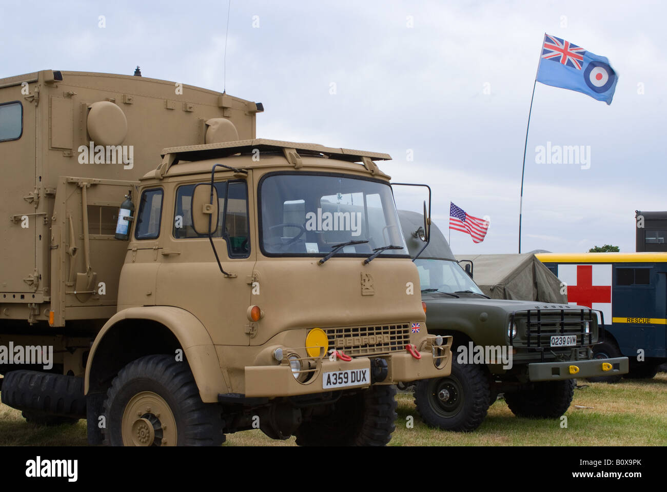 British army bedford all wheel drive and dodge american trucks at smallwood vintage rally cheshire england