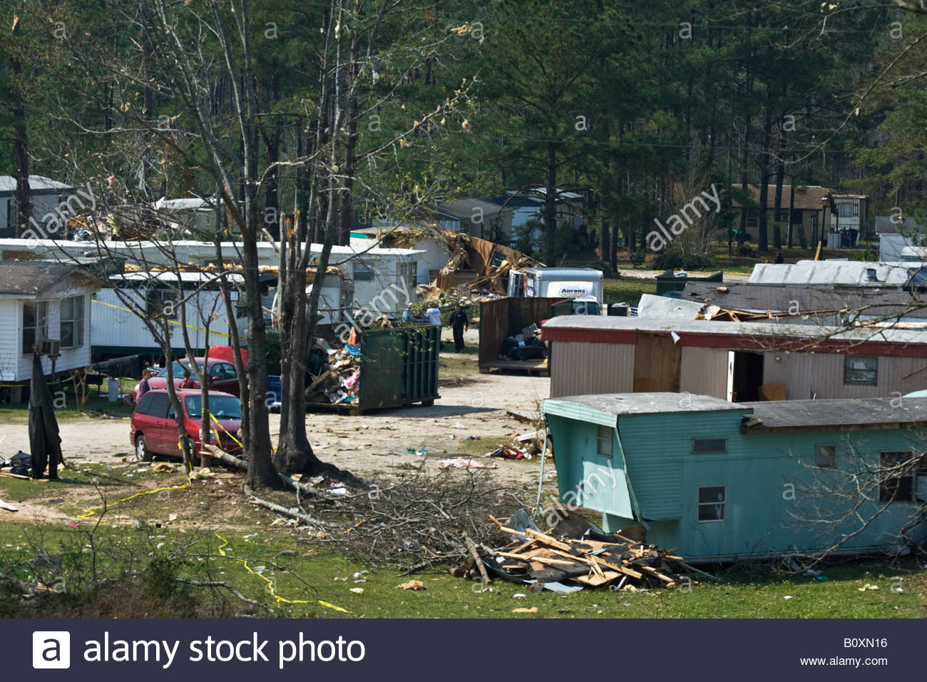 The Aftermath Of A Tornado At A Mobile Home Park Near