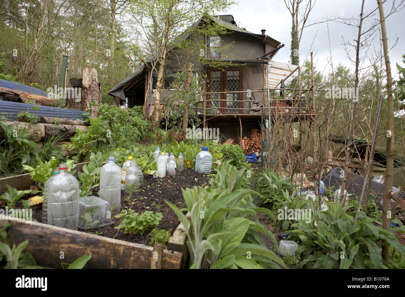House built from reclaimed materials with permaculture for Reclaimed house materials