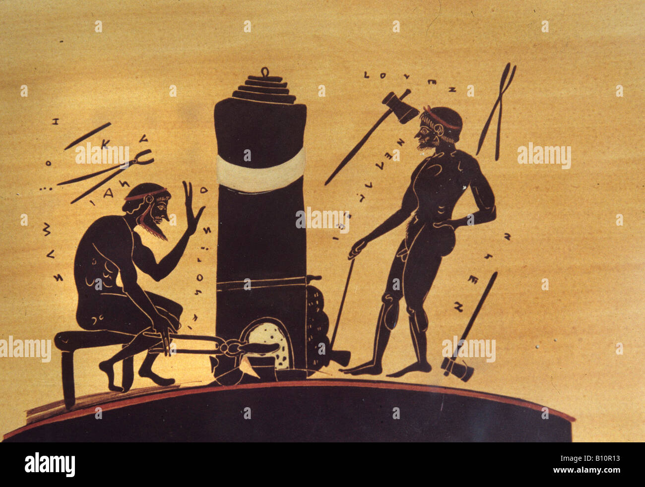 Greek vase painting stock photos greek vase painting stock blacksmiths working at furnace with bellows 6th c bc greek vase painting illustration stock image reviewsmspy