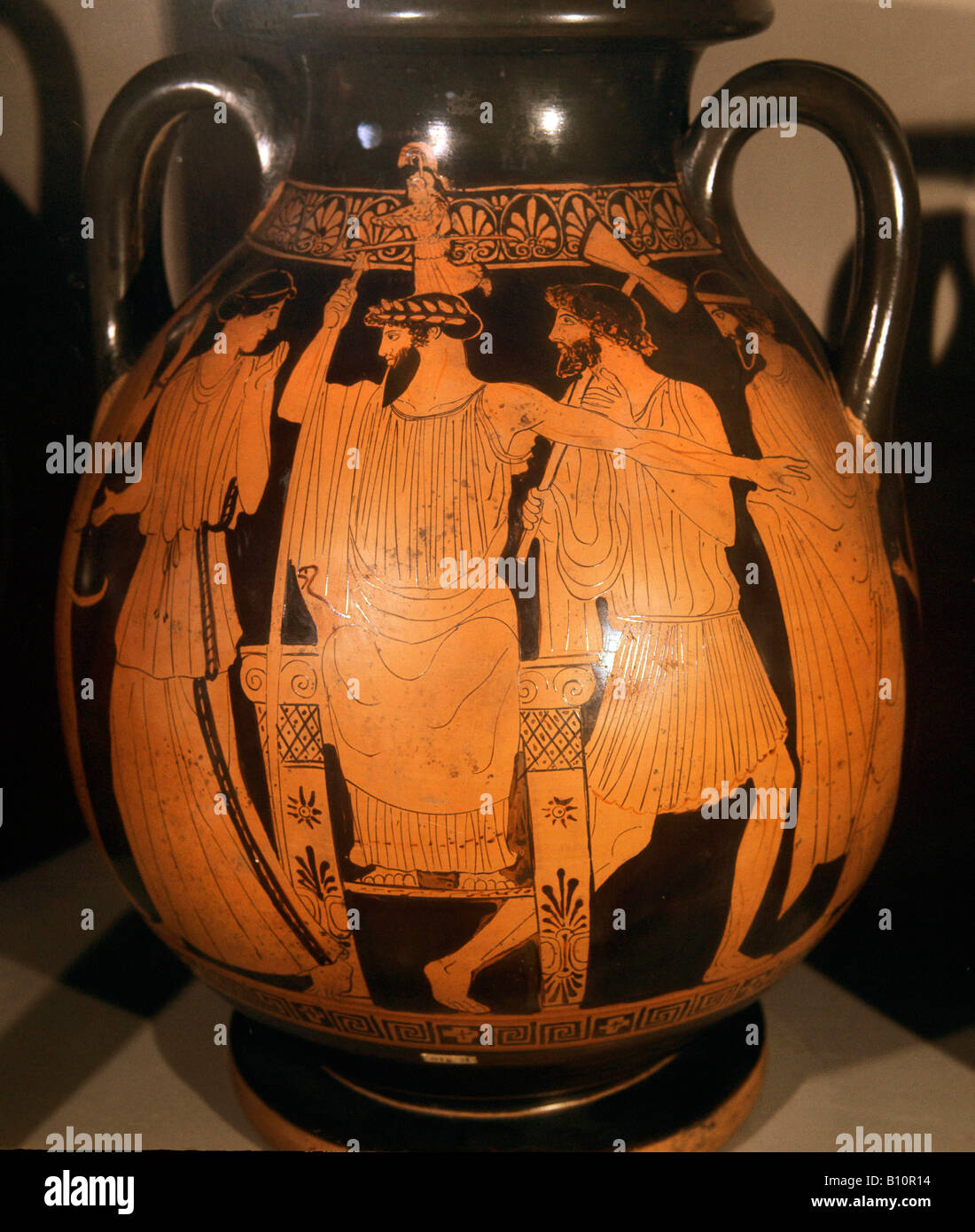 Greek vase painting stock photos greek vase painting stock greek vase painting hephaestos stands behind zeus birth of athena stock image reviewsmspy