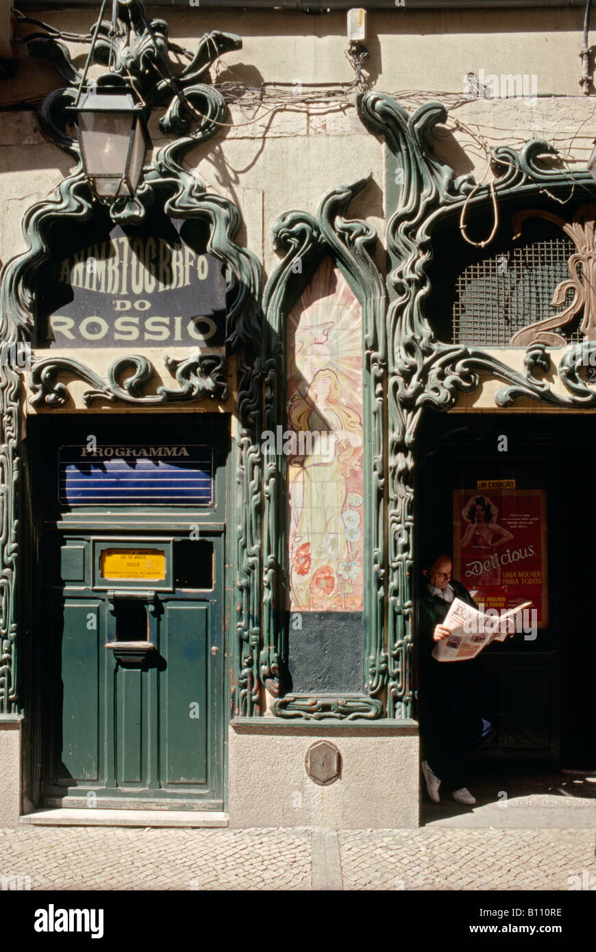 Old cinema with art nouveau decoration in the baixa lisbon for Art nouveau decoration
