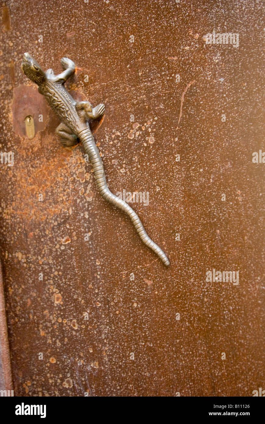 Lizard door handle, Girona, Spain Stock Photo, Royalty Free Image ...
