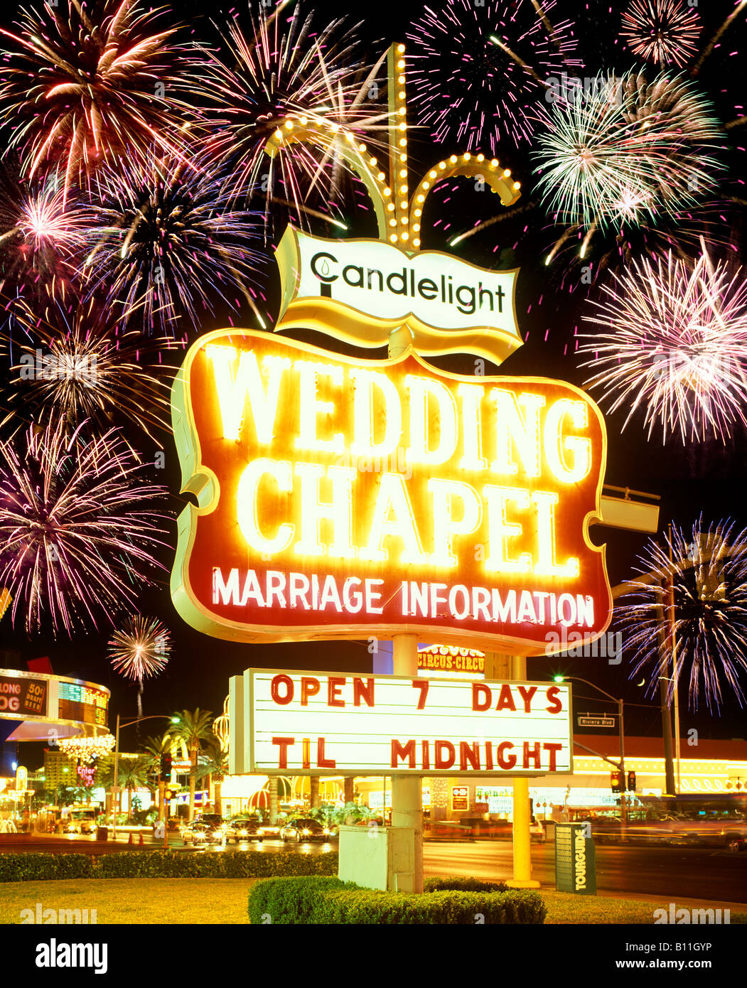 NEON SIGN WEDDING CHAPEL THE STRIP LAS VEGAS NEVADA USA