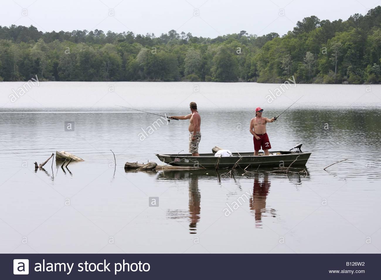 Freshwater fish in alabama - Alabama Millry Emmett Wood State Lake Fishing Man Men Boat Freshwater Fish Rod Reel Catch Angler Water Sport Recreation