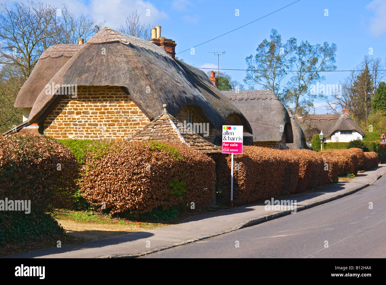 One Of A Row Attractive English Thatched Cottages For Sale In Sandy Lane Wiltshire England UK EU