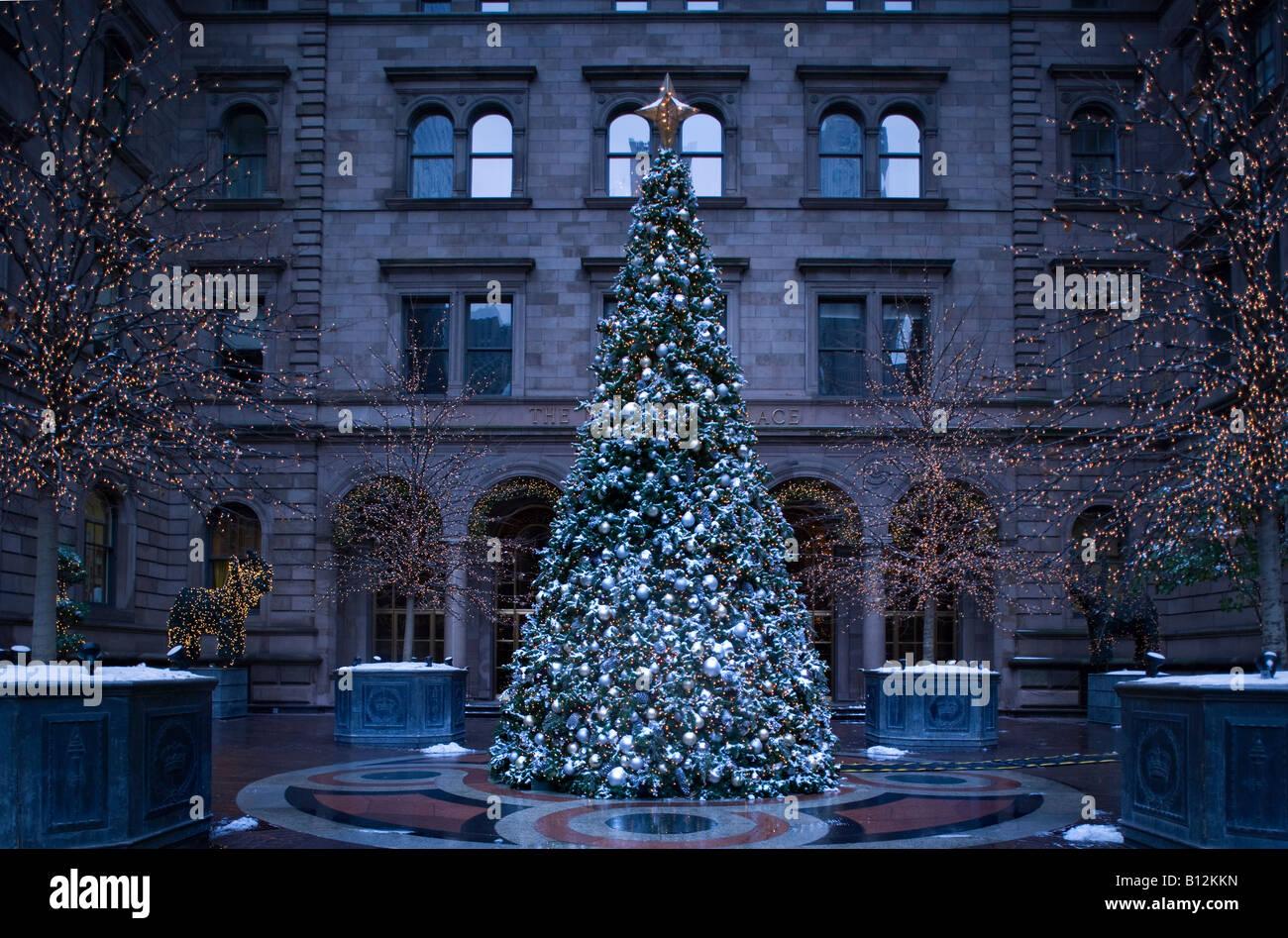 CHRISTMAS TREE NEW YORK CITY PALACE HOTEL MADISON AVENUE MANHATTAN ...