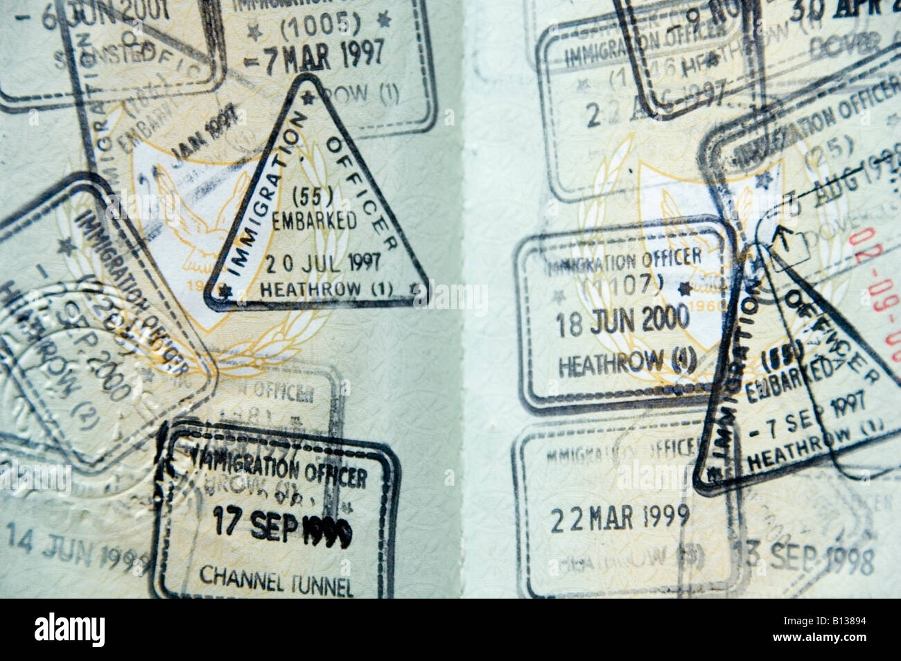 English channel tunnel stock photos english channel tunnel stock english mixed visa stamps in a passport to enter united kingdom from known uk border control ccuart Images